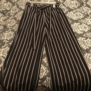 Pants - Long Flare Leg Black and White pants